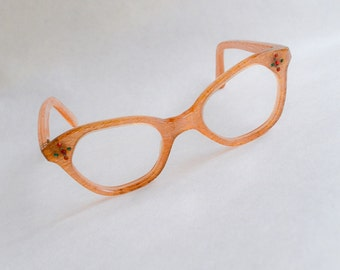 1950s Gold lurex lamé inclusion spectacles / 50s Novelty rhinestone eyeglasses