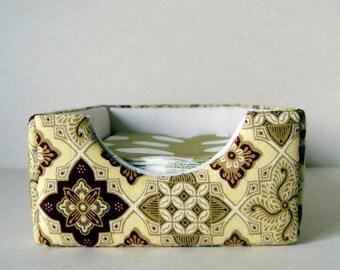 Handmade fabric covered napkin holder, serviette box