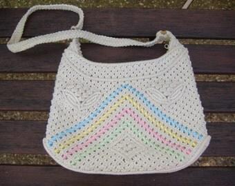 Vintage Macrame Ribbon Handbag