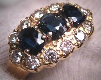 Antique Sapphire Diamond Wedding Ring Band 18CT Gold Art Deco Engagement c.1950