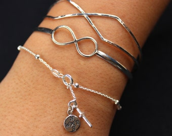 Compass and Cross Bracelet - Sterling Silver - Let your compass be your Guide with your new endeavor - Graduation, Friendship, Journey