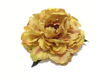 Jumbo Yellow Orange Gold Peony- Artificial Flowers, Silk Flowers, Millinery, Wedding, Flower Crown