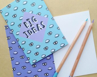 Big Ideas quirky illustrated pocket A6 notebook - blue/purple evil eye pattern - stocking filler /stuffer