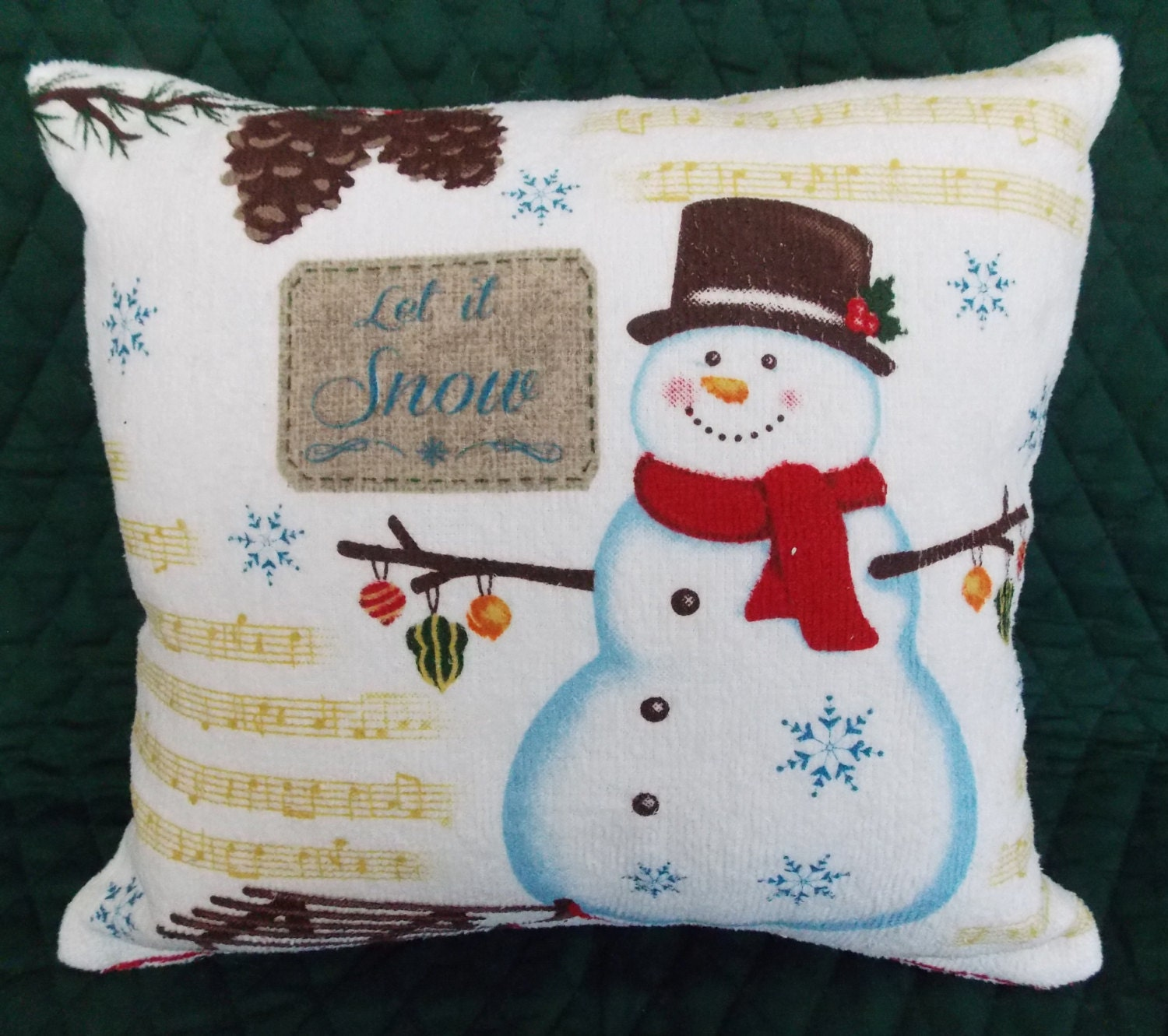 Snowman let it snow soft terry pillow approx