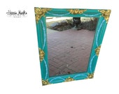 Vintage French Mirror Venetian Inspired Teal Blue Green Turquoise Distressed