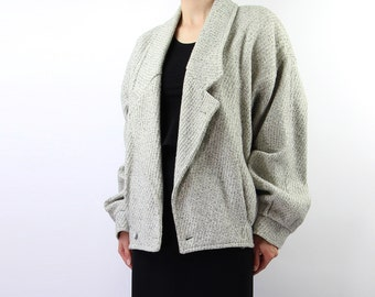 VINTAGE 1980s Coat Light Grey Wool