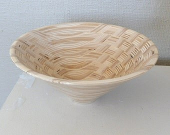Handmade Wood Bowl Segmented Wood Unique Plywood Design One of a Kind Highly Polished Finish