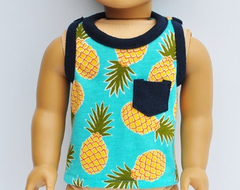 American BOY Doll Clothes - Boys Tank Top, Teal, Pineapples, AG Doll, 18 inch Doll