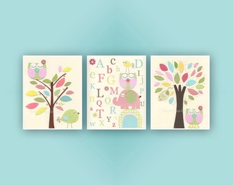 Baby Girl Room Ideas: Nursery wall Art Print For Girls, Baby Girl Room Decor / Love Bird owl Elephant // Set of 3 prints // Hayley Bedding