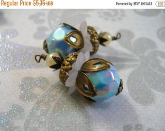 SALE BD453 VINTAGE Style capped pendant dangle Iridescent Blue Acrylic Retro Bead with stacked aged beadcaps and faux Pearl 2 pcs.