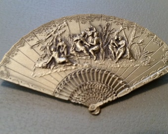 Vintage Museum of Fine Arts Boston Highly Detailed Fan Brass Gold Tone MFA Brooch Pin