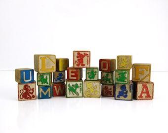 Vintage Disney Wooden Blocks / Lot of 21 toy building blocks