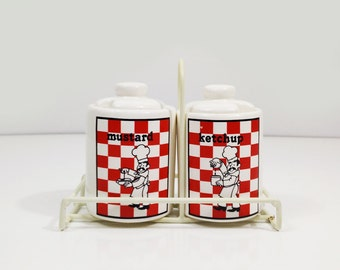 White and red checkered condiment set with caddy / ceramic Ketchup Mustard jars