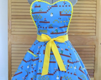 Super Mario Brothers and Friends Apron - Back to the 80's Era