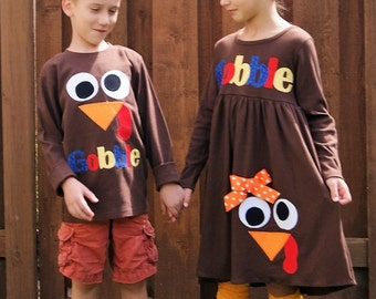 Sibling Thanksgiving Turkey Dress and Shirt Set - Matching Thanksgiving Clothing Boy and Girl