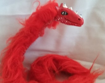 dragon snake posable art doll furry red fantasy