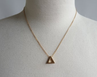 Simple Geometry - Triangle Geometric Brass Necklace