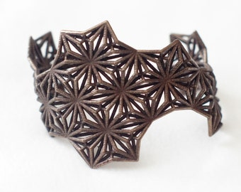 Sacred Geometry 3d Printed Cuff Bracelet- Polished Bronze Steel