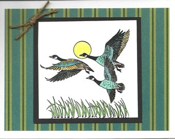 Nature Themed Masculine Greeting Card Featuring Canadian Geese - Birthday - Congratulations - Anniversary - New Job - Retirement