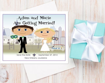 New Orleans Save the Dates — Available as Card or Magnet! New Orleans Wedding Invitation, Mardi Gras Wedding, Destination Wedding