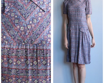 1930s Dress // German Rayon Dress // vintage 30s dress