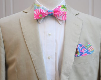 Men's Pocket Square & Bow Tie in Lilly Lovers Coral, bright pinks, blues, wedding party wear, groomsmen gift, groom bow tie set,