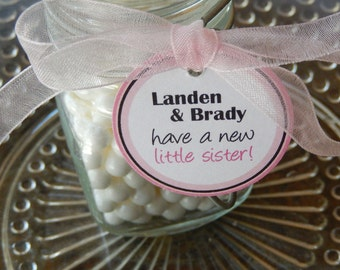 "50 new little sister Custom 1.5"" Favor Tags - For Cake Pops - Lollipops - Thank You Favors - Baby Announcement Tags - Custom Tags + Stickers"