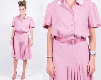 Vintage 1980s Mauve Pink Rose Silky Secretary Shirt Dress * Satin Executive Pleated Skirt * Size Large * FREE SHIPPING