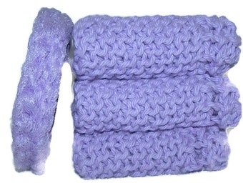 Dish Cloth Knitted Pot Scrubber purple