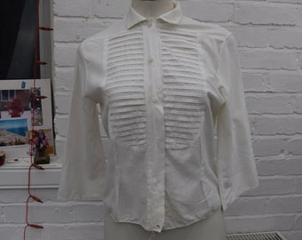 White 1940s 1950s Pleat Front Detailed Blouse