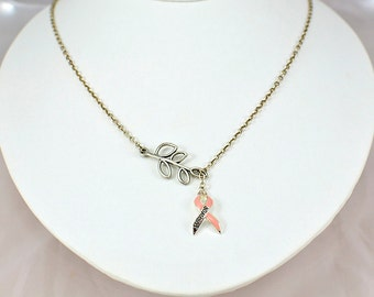 Survivor Necklace - Awareness Necklace - Pink Ribbon Necklace