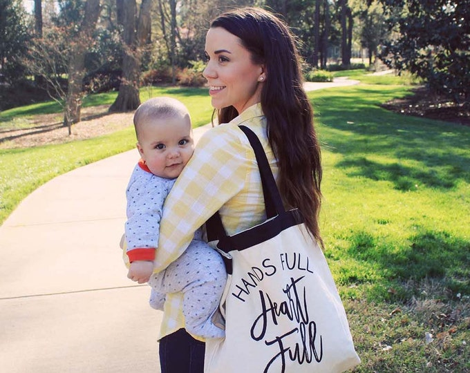 """Featured listing image: Large """"Hands Full Heart Full""""  Tote Bag"""