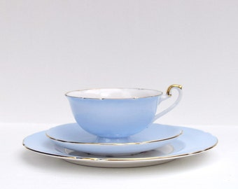 Shelley pale blue tea cup, saucer and desert plate set of 3 fruits pattern bone china