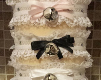 Crystal Kitty Cat Lolita Collar Necklace White Stretch Ruffle with Bell and Bow Neko Cosplay
