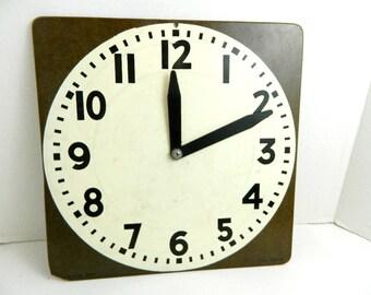 Vintage Instructional Large Teacher Clock Masonite Kinder 1st 2nd Calendar aid