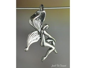 Sterling Silver Lovely Faerie Fairy CHARM or PENDANT Fantasy Solid 925
