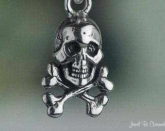 Tiny Sterling Silver Skull and Crossbones Charm Pirates Poison .925
