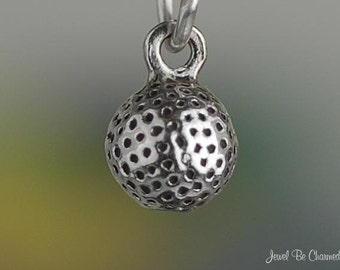 Miniature Sterling Silver Golf Ball Charm Golfing Small Tiny Solid 925