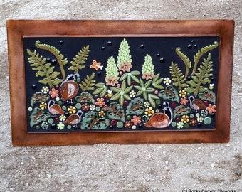 CUSTOM ORDER for BILL - Floral garden mosaic outdoor art. Handmade ceramic quail fern flower art tile.