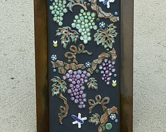 MOSAIC WALL ART wall decor garden patio art wine grapes handmade ceramic outdoor art tile, with cast bronze leaves