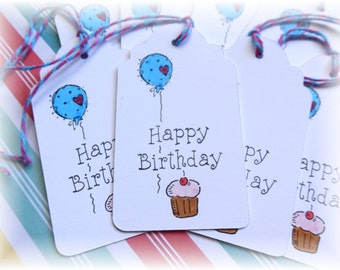Happy Birthday - Balloon -  Cupcake - Gift/ Hang Tags (8)