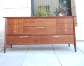 Mid Century Walnut Dresser by Drexel / 10 Drawers