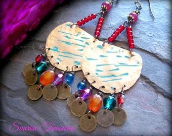 Gypsy Hammered Brass Earrings, Bohemian Chandelier Earrings, Colorful Earrings, Artisan Forged Metalwork Earrings, Artisan Jewelry