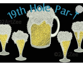 Golf 19th Hole Party with Beer Pitcher and Glasses PAR Golf Tee Machine Embroidery Design