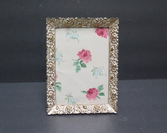 Vintage Ornate 5 x 7 Embossed  Picture Frame French Provincial with Easel Back Brass with white wash finish one frame