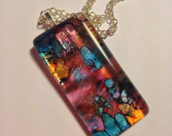 Hand Made Glass Pendant  --  NEW  --  Abstract  --  One of a Kind  --  (#1579)