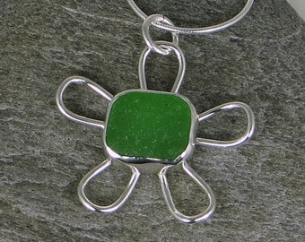 Bright Green Sea Glass Flower Bezel Pendant Necklace