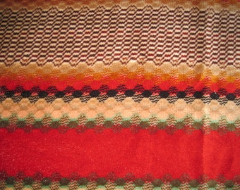Early 1980's Velour Southwest Patterned Twin Bedpread/ Tablecloth/ Throw