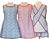 Plus size Apron, No Tie Apron, Crossback Apron - Calico Apron - Blue, Red, Purple Cotton Calico, Full Figure Apron - By Size XL, 2X, 3X, 4X