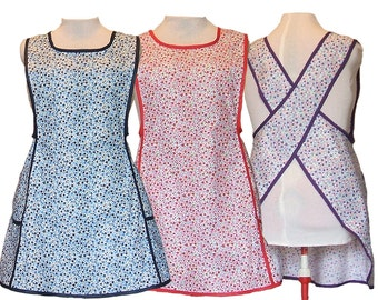Plus size Apron, Cross back apron, No Tie Apron, Blue, Red, Purple Cotton Calico Apron  - Made to Order Sizes XL, 2X, 3X, 4X